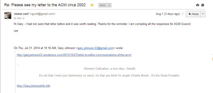 Email from Vinton Cerf